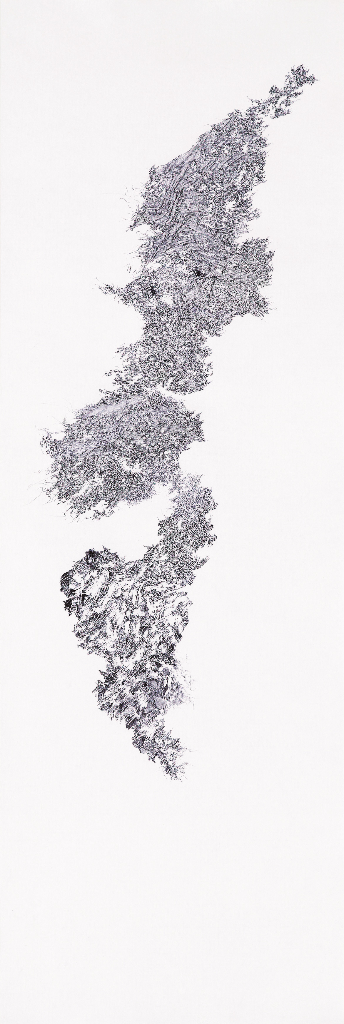 a moment of truth 5, ball pen on paper, 1 ft (w) x 3 ft (h), 2012