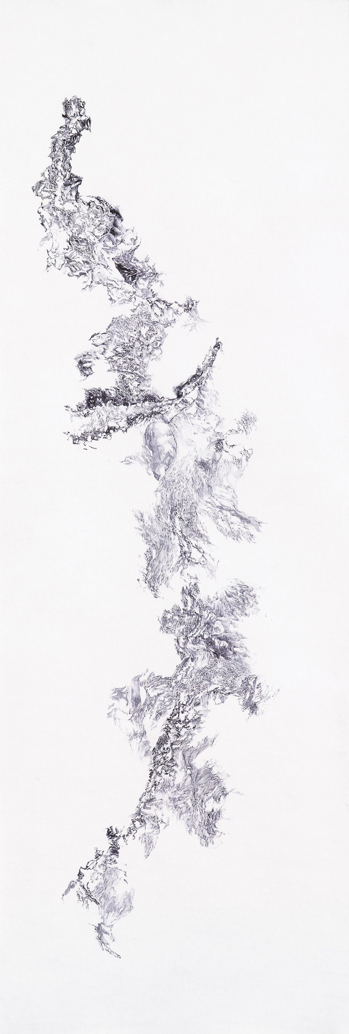 a moment of truth 6, ball pen on paper, 1 ft (w) x 3 ft (h), 2012