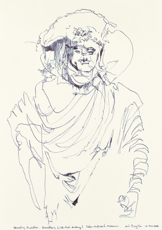 Gandhara Buddha study 1, ball pen on paper, 30cm (height) x 21cm (width), 2015