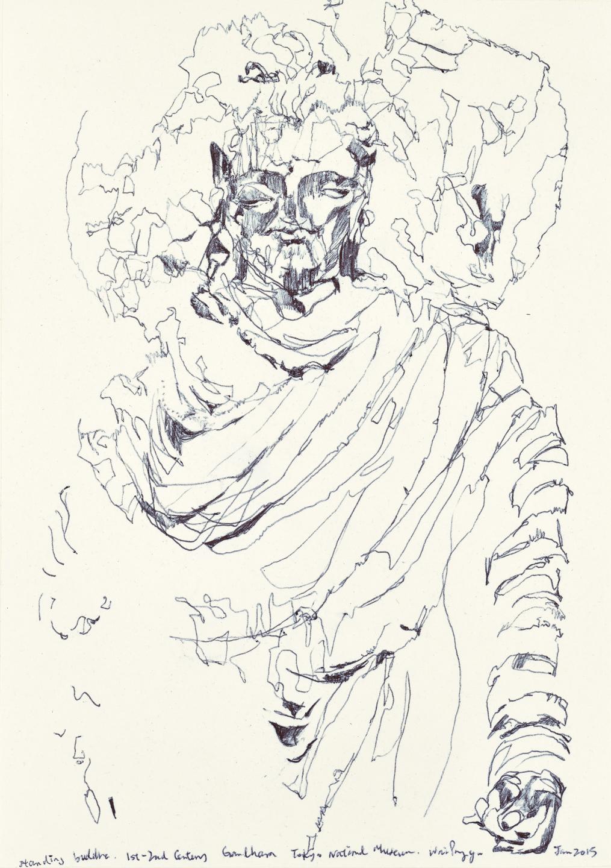Gandhara Buddha study 2, ball pen on paper, 30cm (height) x 21cm (width), 2015