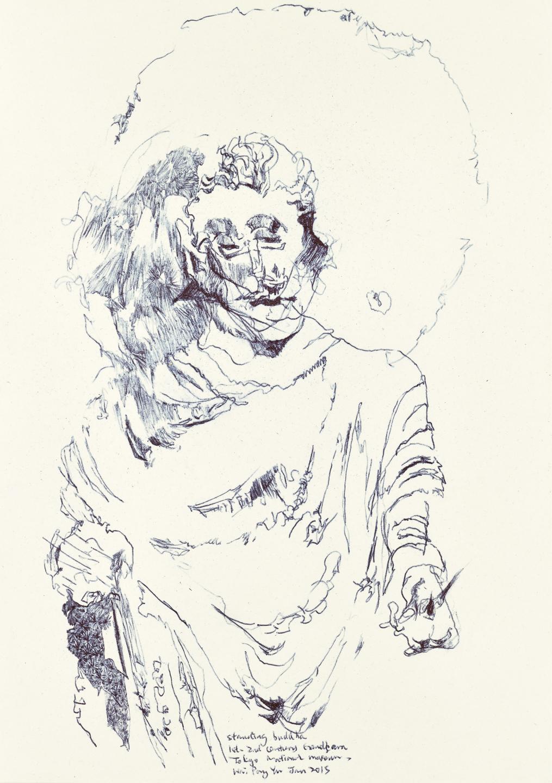 Gandhara Buddha study 3, ball pen on paper, 30cm (height) x 21cm (width), 2015