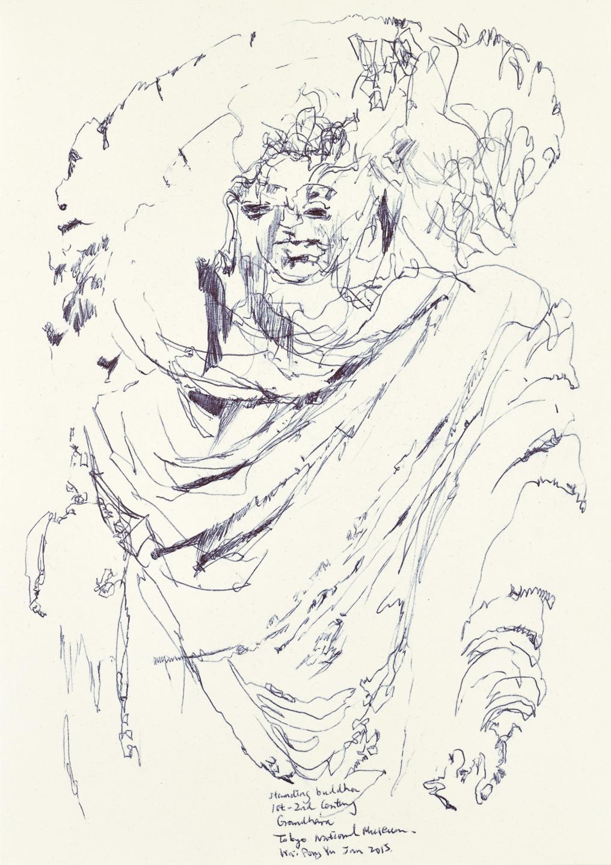 Gandhara Buddha study 5, ball pen on paper, 30cm (height) x 21cm (width), 2015