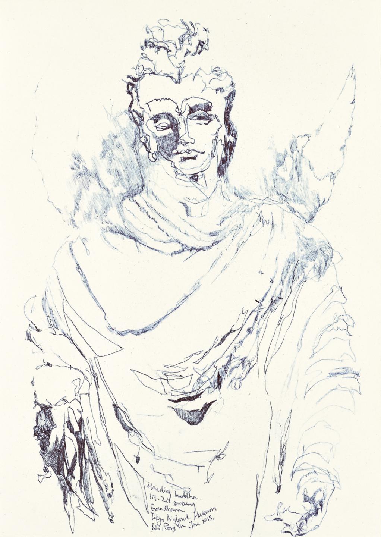 Gandhara Buddha study 6, ball pen on paper, 30cm (height) x 21cm (width), 2015