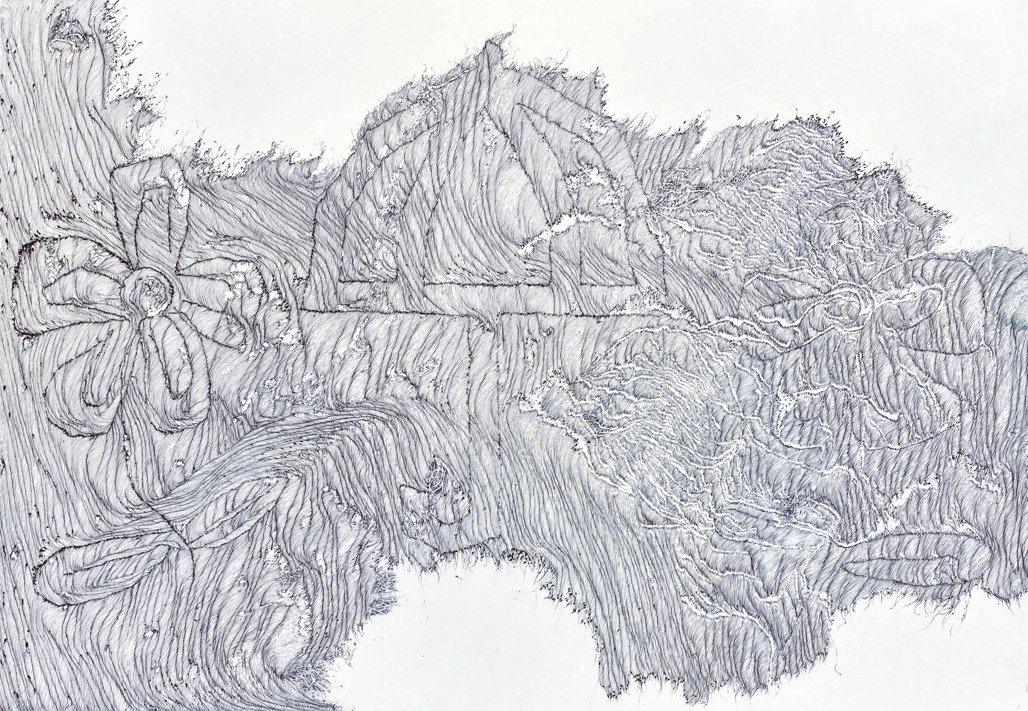 Dauntlessly - 14 yo chalk girl 1, ball pen on paper, 64cm (height) x 93cm (width), 2015
