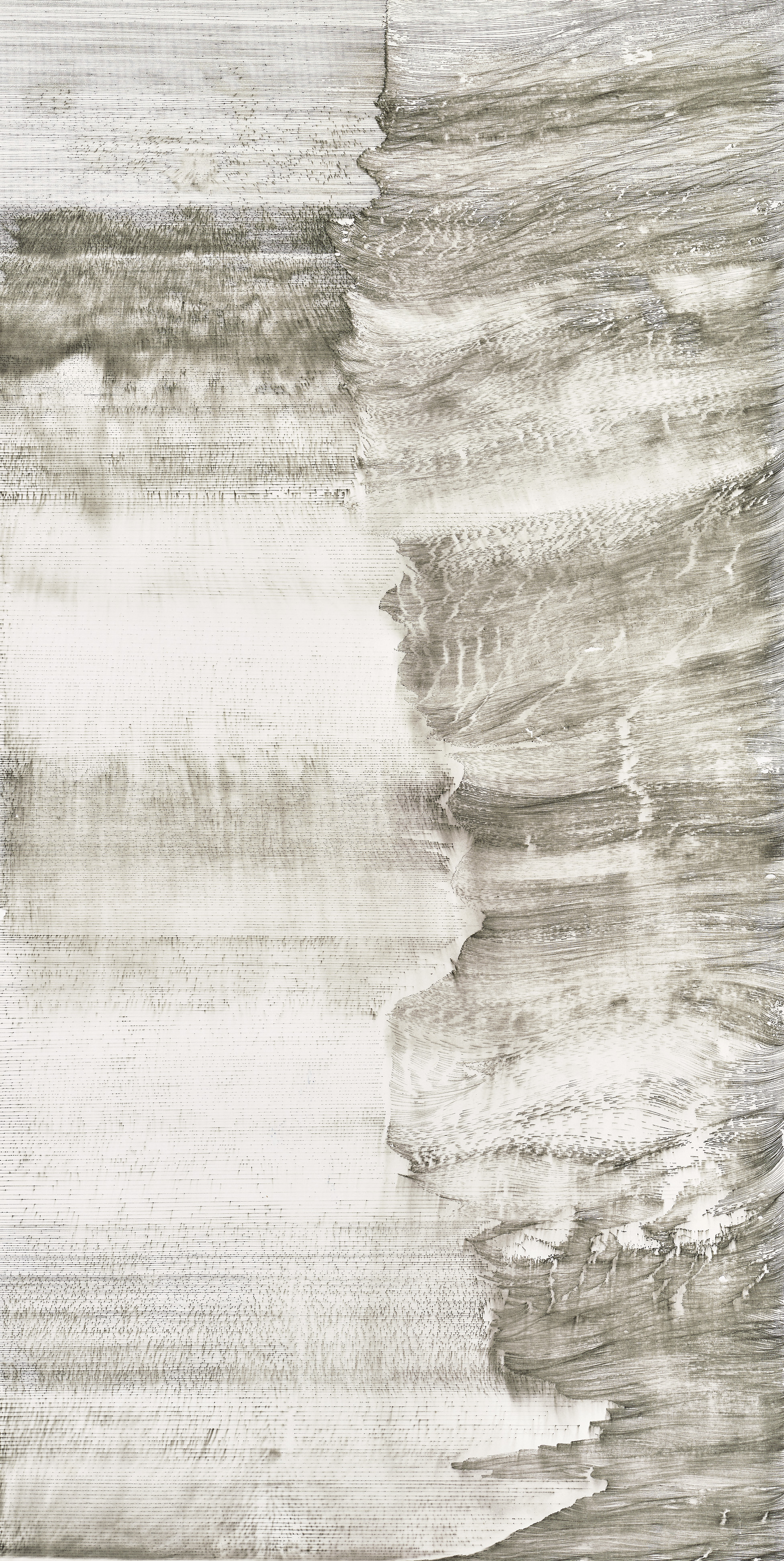 Hung Fai and Wai Pong Yu, Same Line Twice 2 (i), 70 cm (width) x 138.5 cm (height), pigmented ink on paper, 2016