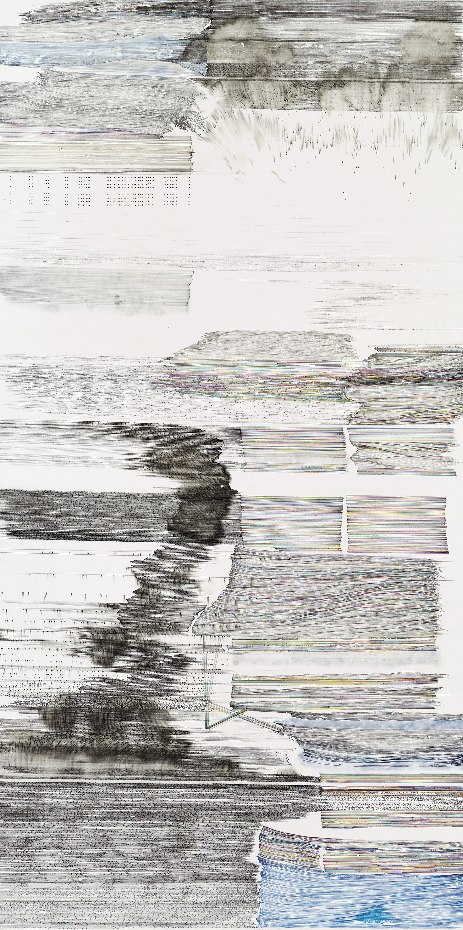 Same Line Twice 15, 70 cm (width) x 138 cm (height), pigmented ink, ballpoint pen and brush on paper, 2017